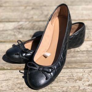 EUC Black Merona Quilted Ballet Flats w Bows 9.5